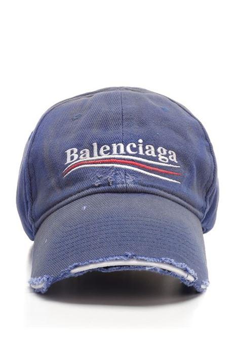 Cappellino Political Campaign Destroyed  blu effetto consumato BALENCIAGA | Cappelli | 661884-410B24277