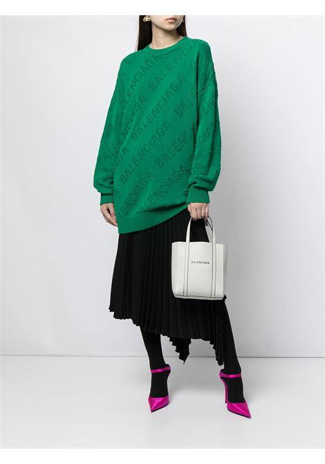 Green cotton Balenciaga logo-intarsia oversized jumper BALENCIAGA |  | 662917-T31663001