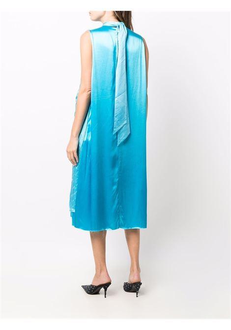 Blue silk crinkled-effect sleeveless dress featuring all-over logo BALENCIAGA |  | 663023-TKN024900
