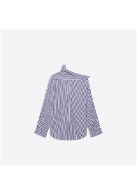 camicia a righe oversize in cotone biologico con taglio asimmetrico BALENCIAGA | Camicie | 663034-TIM368502