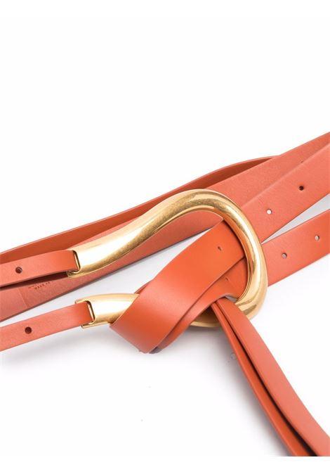 Cintura a doppio cinturino in pelle arancione con finiture dorate BOTTEGA VENETA | Cinture | 577040-VMAU17654