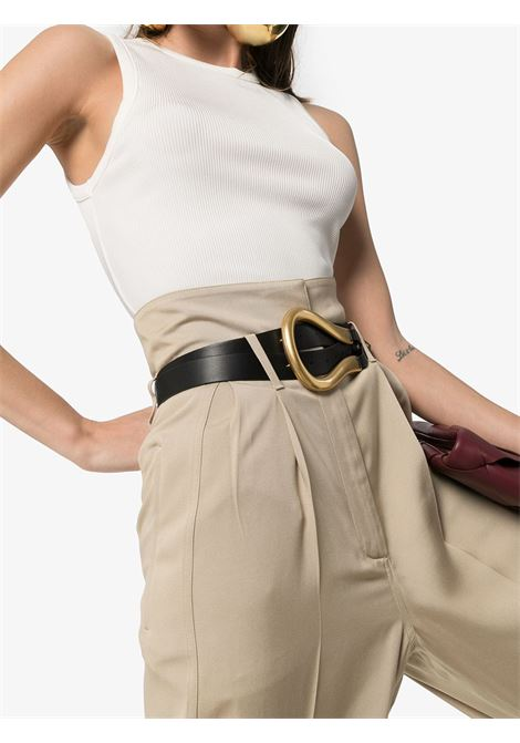 Cintura a doppio cinturino in pelle nera con finiture dorate BOTTEGA VENETA | Cinture | 577040-VMAU18648