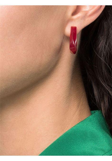 orecchini in forma triangolare in metallo dorato e PVC rosso BOTTEGA VENETA | Orecchini | 617684-V11C16403