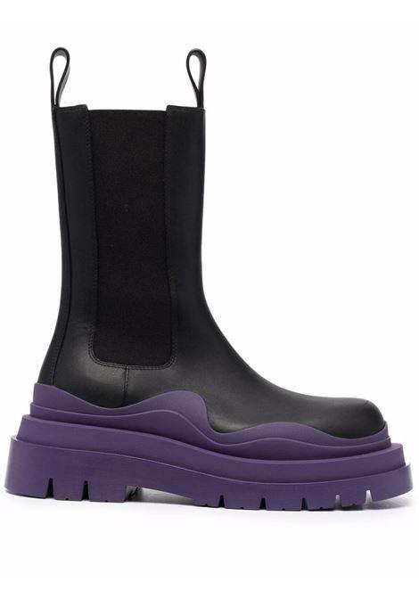 Black calf leather BV Tire boots with violet ridged rubber sole BOTTEGA VENETA |  | 630297-VBS501293