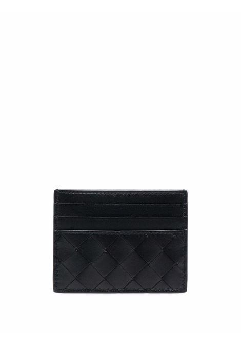 portacarte in pelle di agnello nero con design Intrecciato BOTTEGA VENETA | Portacarte | 635042-VCPP38425