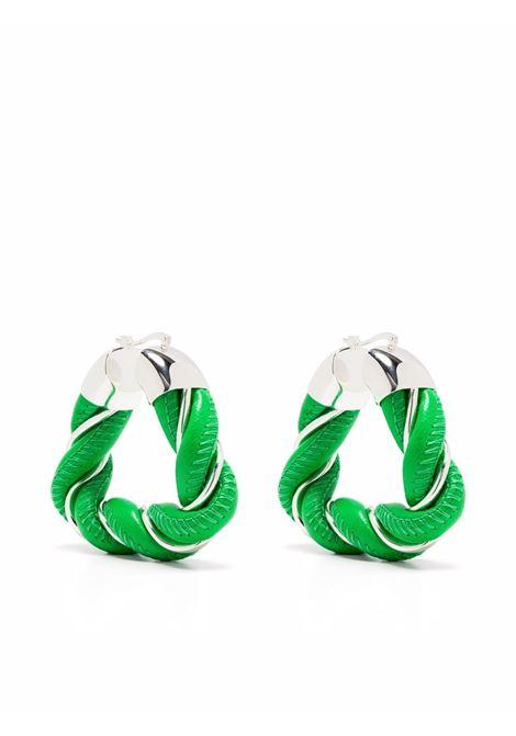 Orecchini a triangolo intrecciato in pelle verde e parti metalliche BOTTEGA VENETA | Orecchini | 657438-V507C3708