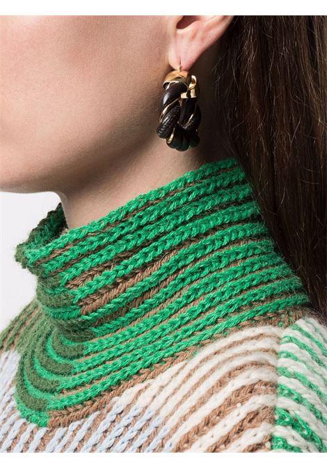 orecchini a forma triangolare neri in pelle intrecciata e BOTTEGA VENETA | Orecchini | 657438-VAHUA2113