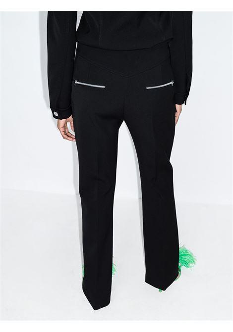 Pantaloni bootcut a vita alta con zip in lana nera BOTTEGA VENETA | Pantaloni | 661375-V0IV01000