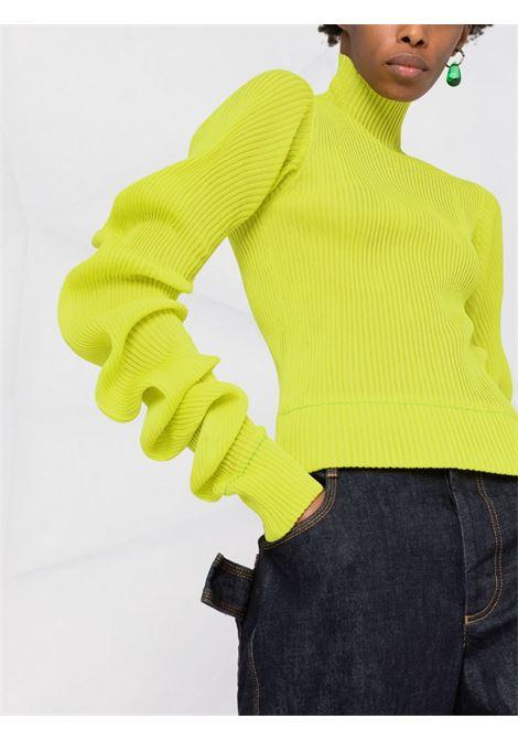 dolcevita in seta verde con maniche arricciate BOTTEGA VENETA | Maglieria | 664118-V0ZF07275