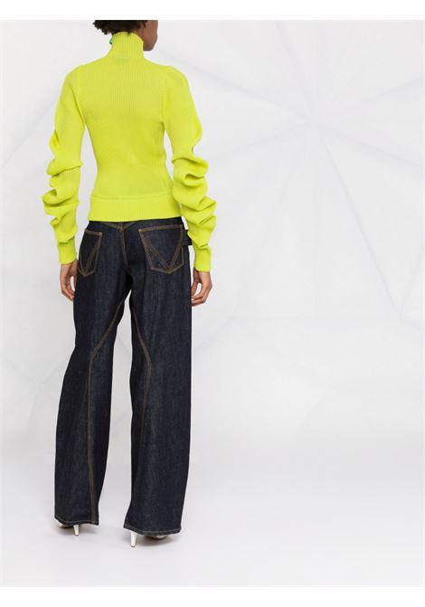 Green silk gathered-sleeve rollneck BOTTEGA VENETA |  | 664118-V0ZF07275