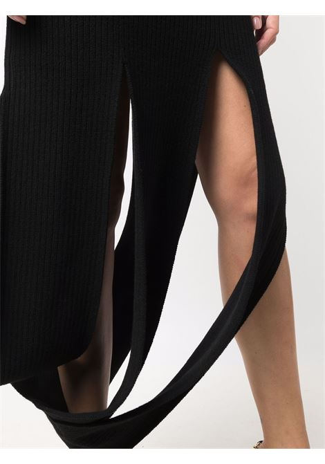 Black stretch wool ribbed knit cut-out dress  BOTTEGA VENETA |  | 664144-W0Z901000