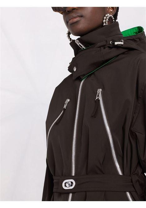 parka in cotone e nylon nero e verde con cappuccio BOTTEGA VENETA | Cappotti | 665716-V03U02113