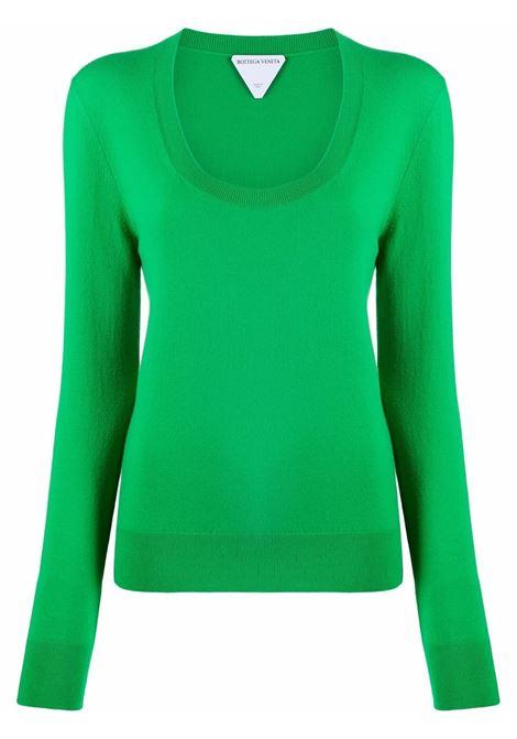 Maglia girocollo in cashmere stretch verde BOTTEGA VENETA | Maglieria | 665903-VKSE04809