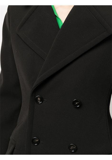 Cappotto doppiopetto nero in lana con collo francese BOTTEGA VENETA | Cappotti | 666186-V0IV01000
