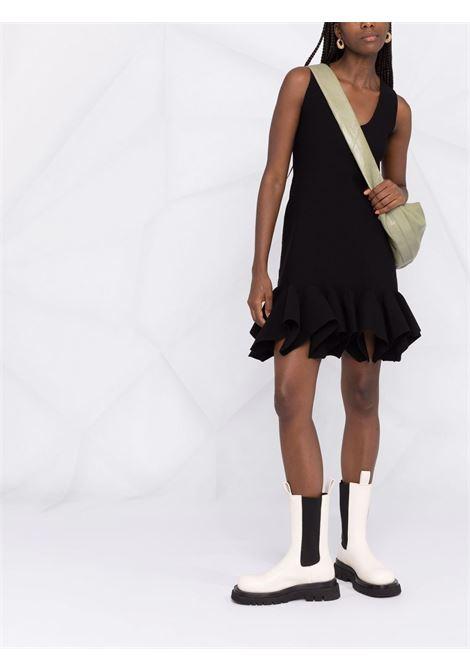 Black wool stretch-knit dress featuring scoop neck BOTTEGA VENETA |  | 666520-V12V01000