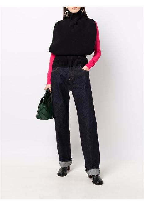 Maglione con collo alto in lana nera a maniche spezzate BOTTEGA VENETA | Maglieria | 679759-V1IC01000