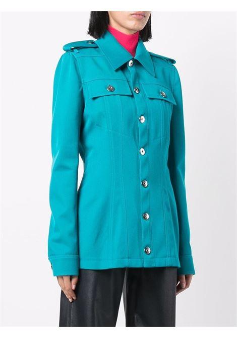 Turquoise wool and cotton single-breasted jacket  BOTTEGA VENETA |  | 680333-V0B204467