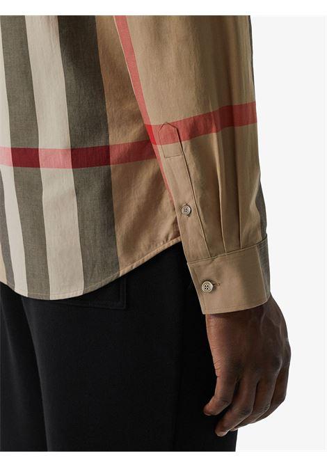 Camicia in cotone beige in stampa Macro Vintage Burberry Check BURBERRY   Camicie   8010213-SOMERTONA7028