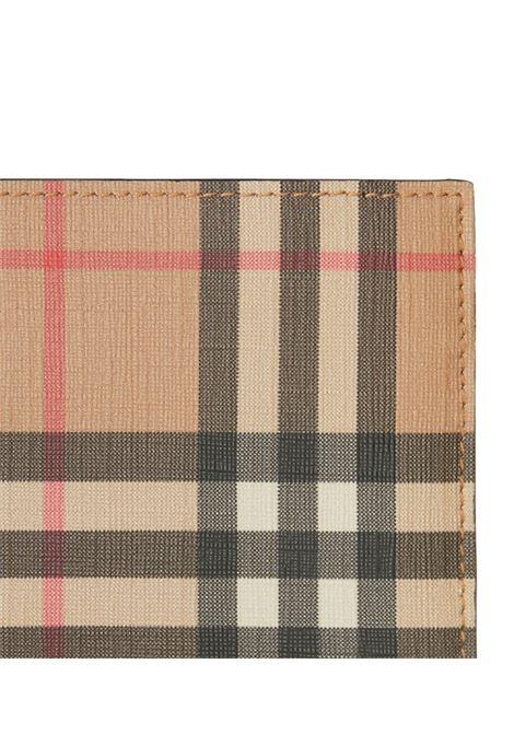 Portafogli quadrato in pelle saffiano beige in stampa Burberry Check BURBERRY | Portafogli | 8016618-MS CC BILL COIN DFA7026