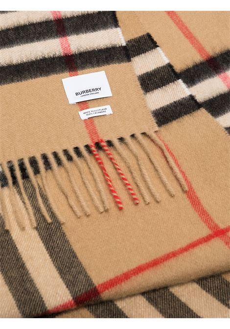 sciarpa beige con frange in stampa Vintage Check BURBERRY | Sciarpa | 8018173-MU GIANT CHKA7026