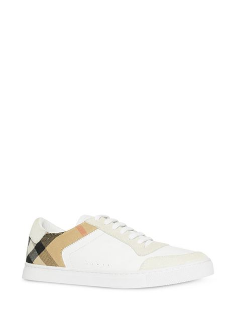 white calf leather,suede and sheepskin House Check panel sneakers BURBERRY      8024125-MF NEW REETH LOWA1462