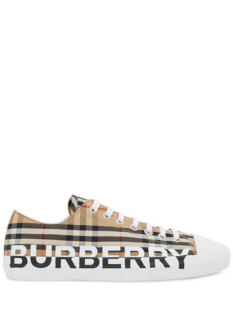 beige Burberry Check low-top sneakers  BURBERRY      8024149-MF LARKHALLA7026