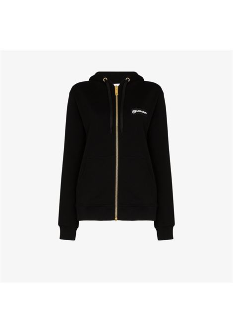 black cotton zipped hoodie featuring Burberry Check sleeves BURBERRY |  | 8024543-AUBREEA1189