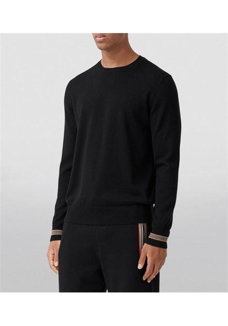 Black merino wool Icon Stripe jumper  BURBERRY      8033201-PARADISEA1189
