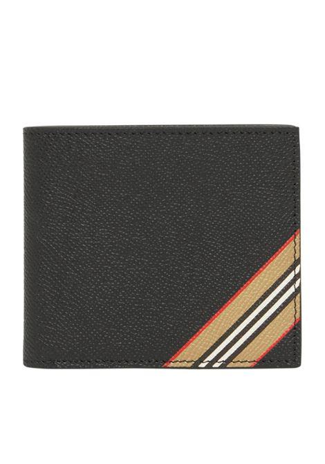 Portafoglio Icon Stripe in pelle di vitello nero BURBERRY | Portafogli | 8033846-MS CC BILL COINA1189