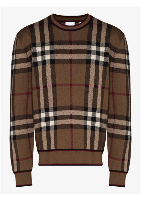 Brown merino wool check print jumper  BURBERRY      8036603-NAYLORA8773