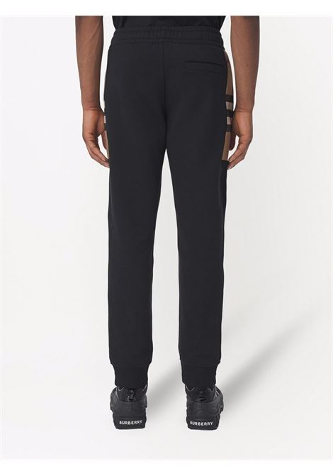 Black cotton and calf leather check-pattern track pants  BURBERRY |  | 8045013-STEPHANA1189