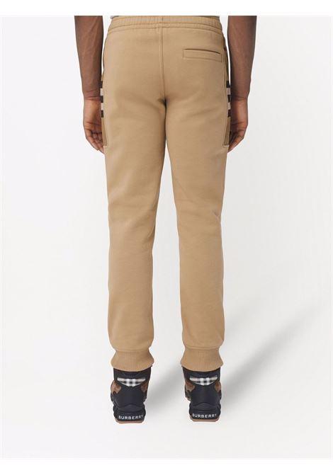 Pantaloni sportivi in cotone e pelle di vitello beige cammello BURBERRY | Pantaloni | 8045014-STEPHANA1420