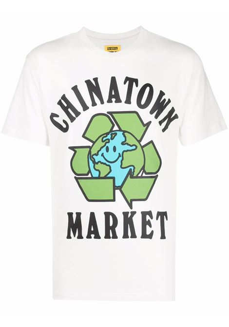 White cotton Recycle Global cotton T-Shirt  CHINATOWN MARKET |  | 1990519-RECYCLE GLOBALCREAM