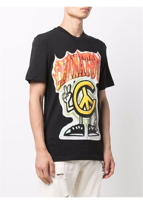 T-shirt nera in cotone con stampa grafica Flame CHINATOWN MARKET | T-shirt | 1990546-PEACE GUY FLAME ARCBLACK