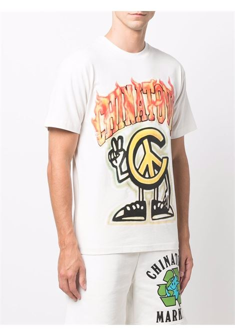 T-shirt bianca in cotone con stampa grafica Flame CHINATOWN MARKET | T-shirt | 1990546-PEACE GUY FLAME ARCCREAM