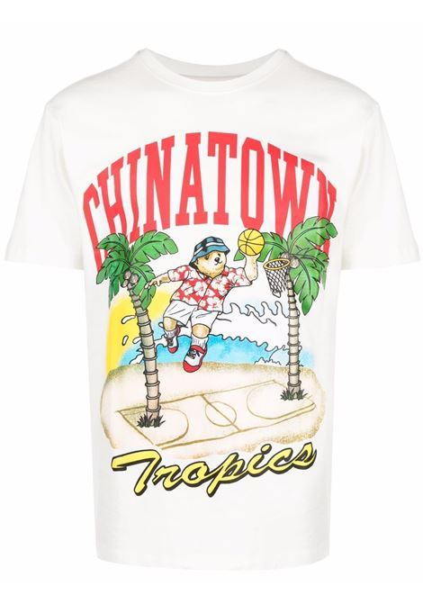 T-shirt con stampa grafica Tropics in cotone bianco CHINATOWN MARKET | T-shirt | 1990549-DUNKING BEAR BY THE WATERCREAM