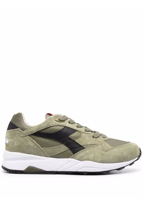 Olive green leather and suede panelled low-top trainers DIADORA |  | 177154-ECLIPSE ITALIA70431