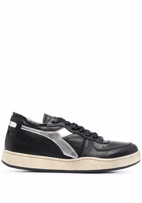 black leather Mi Basket trainers featuring silver Diadora logo patch DIADORA |  | 177995-MI BASKET ROW CUT  NEW MOON80013