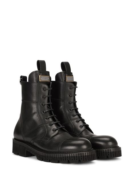 Black calf leather ankle boots featuring Dolce & Gabbana logo DOLCE & GABBANA |  | A60380-AO95380999