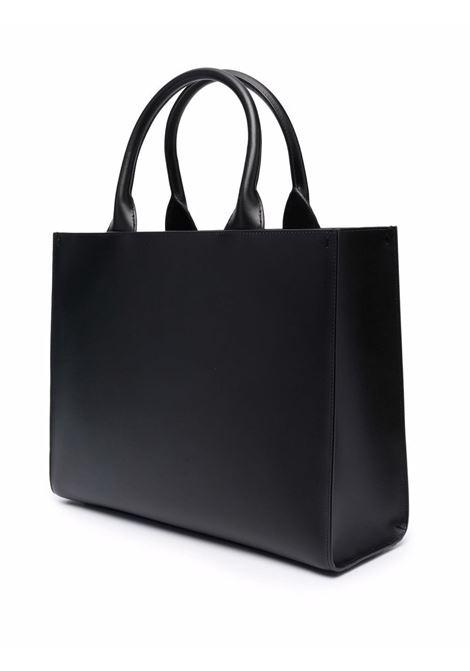 Tote bag in pelle di vitello nera con logo Dolce & Gabbana inciso DOLCE & GABBANA | Borse tote | BB7023-AQ26980999