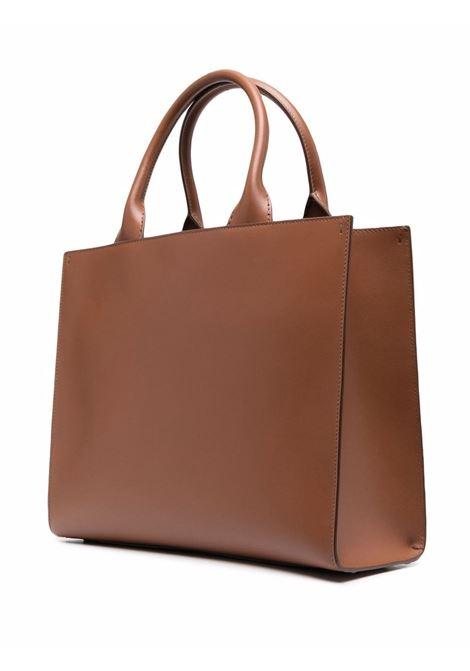 Borsa tote in pelle marrone con logo DG goffrato DOLCE & GABBANA | Borse tote | BB7023-AQ2698M308