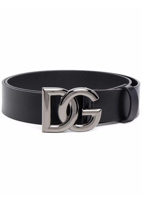 Cintura da 3,5cm con logo DG incrociato in pelle di vitello nera DOLCE & GABBANA | Cinture | BC4628-AX62280999