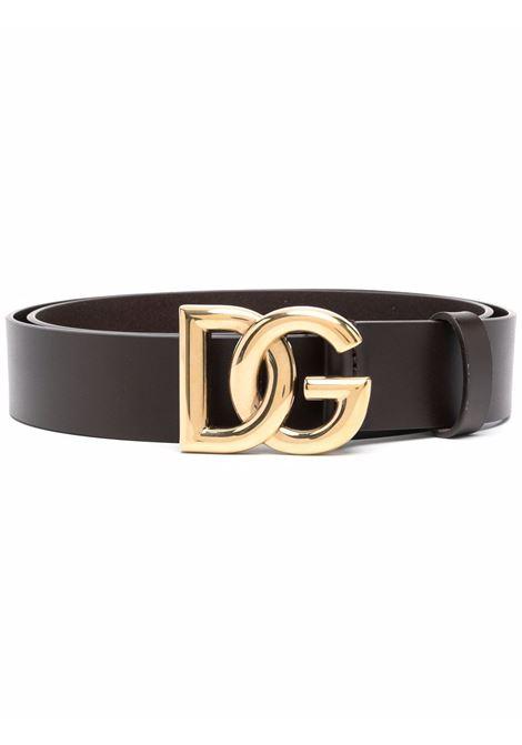 Cintura in pelle di vitello marrone da 3,5cm con logo DG DOLCE & GABBANA | Cinture | BC4628-AX6228B421