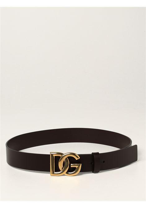 Brown calf leather 3,5cm DG gold crossed logo belt  DOLCE & GABBANA |  | BC4628-AX6228B421