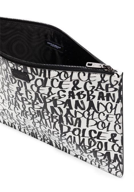 Pochette con zip in stampa graffiti di pelle di vitello bianca e nera DOLCE & GABBANA | Portafogli | BP2182-AZ657HARZN