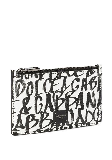 Portafoglio in pelle di vitello bianco e nero in stampa graffiti DOLCE & GABBANA | Portafogli | BP2527-AZ657HARZN