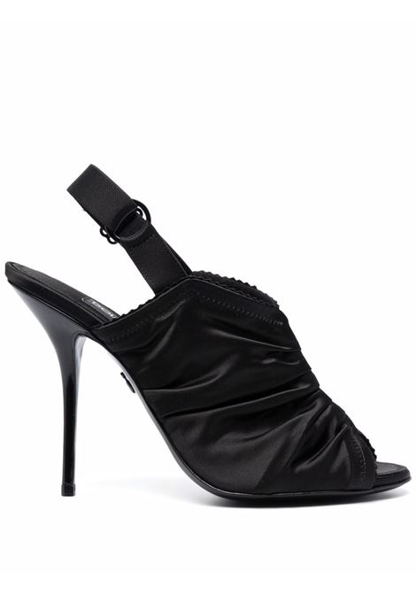 Black leather and satin ruched stiletto sandals   DOLCE & GABBANA |  | CG0493-AQ0318B956