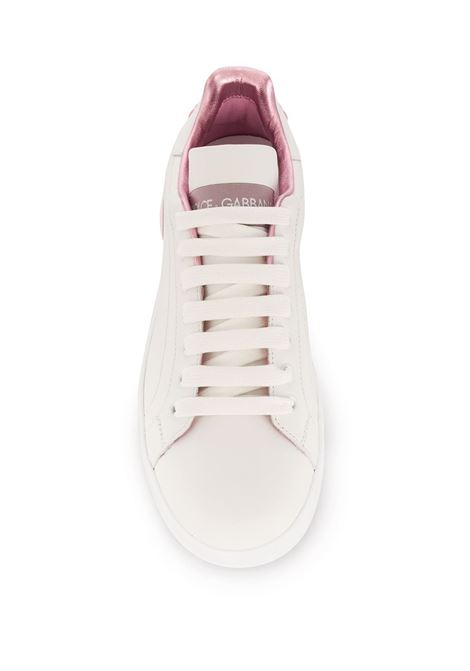 white calf leather Portofino low-top sneakers with pink details DOLCE & GABBANA |  | CK1544-AX61587587