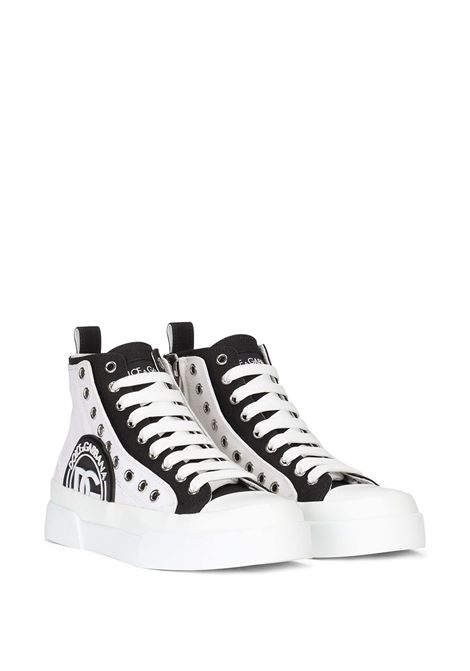 White and black leather and cotton lace-up ankle-length sneakers  DOLCE & GABBANA |  | CK1833-AO85389697