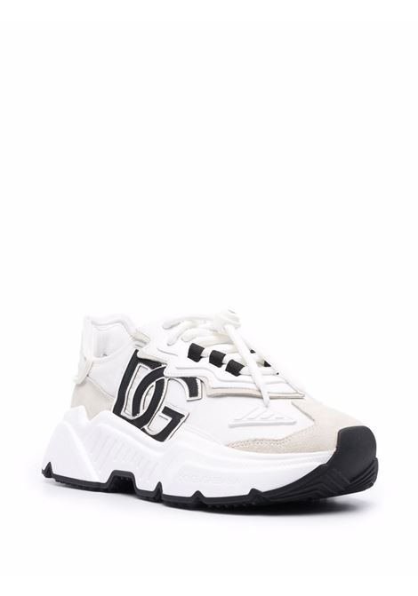 White leather DG logo-patch lace-up sneakers   DOLCE & GABBANA      CK1908-AQ04080001